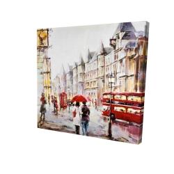 Canvas 24 x 24 - 3D - European street by a rainy day