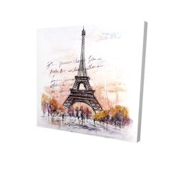 Canvas 24 x 24 - 3D - Eiffel tower sketch with an handwritten message