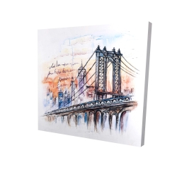 Canvas 24 x 24 - 3D - Bridge sketch