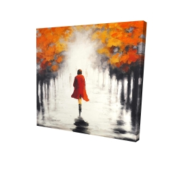Canvas 24 x 24 - 3D - Woman with a red coat by fall