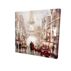 Canvas 36 x 36 - 3D - Busy street of paris with eiffel tower