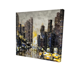 Canvas 24 x 24 - 3D - Abstract and texturized city with yellow taxis