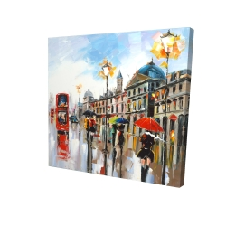 Canvas 24 x 24 - 3D - Colorful street with red bus