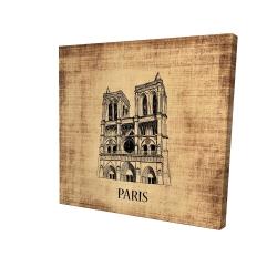 Canvas 24 x 24 - 3D - Notre-dame de paris illustration