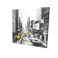 Canvas 24 x 24 - 3D - Grayscale street with yellow cars