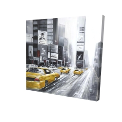 Canvas 24 x 24 - 3D - Traffic of yellow cars in a gray city