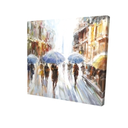 Canvas 24 x 24 - 3D - Abstract rain in the city
