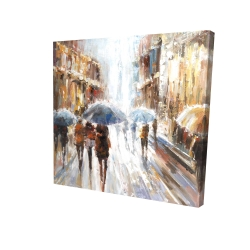 Canvas 24 x 24 - 3D - Abstract passersby in the city