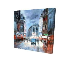 Canvas 24 x 24 - 3D - Abstract red and blue city