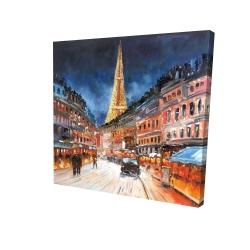 Canvas 24 x 24 - 3D - Illuminated paris