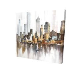 Canvas 24 x 24 - 3D - Urban landscape and its sailboats