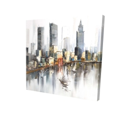 Canvas 24 x 24 - 3D - Watercolor style city with boats