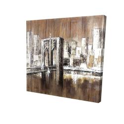 Canvas 24 x 24 - 3D - Aged finish brooklyn bridge