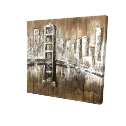 Canvas 24 x 24 - 3D - Aged finish golden gate