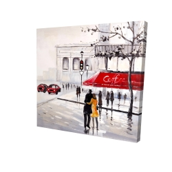 Canvas 24 x 24 - 3D - Couple walking near a coffee shop