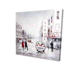 Canvas 24 x 24 - 3D - Couple walking in the street with red accents
