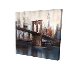 Canvas 24 x 24 - 3D - Brown and blue brooklyn bridge