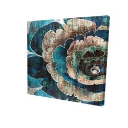 Canvas 24 x 24 - 3D - Blue flower montage