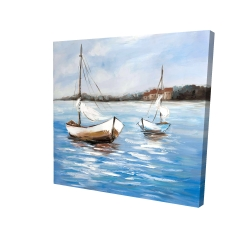 Canvas 24 x 24 - 3D - Two boats on the water