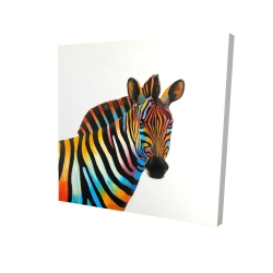 Canvas 24 x 24 - 3D - Colorful profile view of a zebra