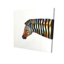 Canvas 24 x 24 - 3D - Colorful zebra