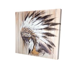 Canvas 24 x 24 - 3D - Indian with feathers