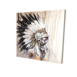 Canvas 24 x 24 - 3D - Indian with an headdress chief