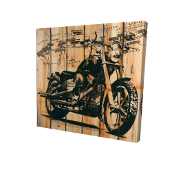 Canvas 24 x 24 - 3D - Motorcycle on wood background