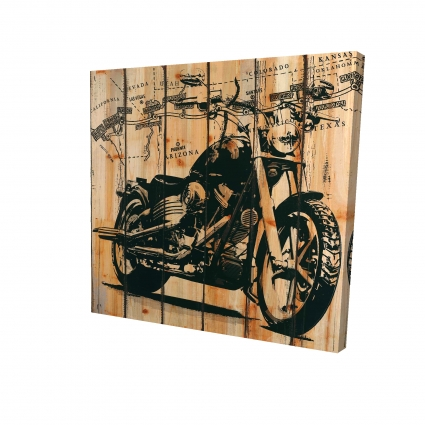 Motorcycle on wood background