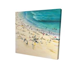 Canvas 24 x 24 - 3D - Summer crowd at the beach