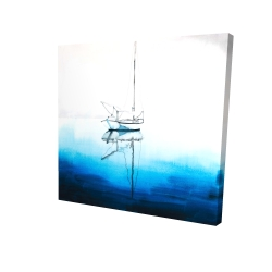 Canvas 24 x 24 - 3D - White boat on a deep blue water