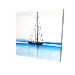 Canvas 24 x 24 - 3D - Sailboat on a calm water