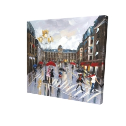 Canvas 24 x 24 - 3D - People walking across the street by a rainy day