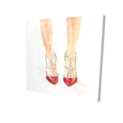 Canvas 24 x 24 - 3D - Red studded high heels