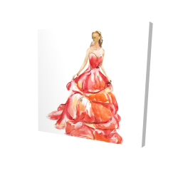 Canvas 24 x 24 - 3D - Beautiful red prom dress