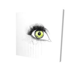 Canvas 24 x 24 - 3D - Green eye in watercolor