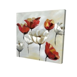 Canvas 24 x 24 - 3D - Abstract red and white flowers