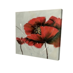 Canvas 24 x 24 - 3D - Red poppy flowers