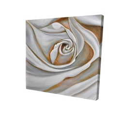 Canvas 24 x 24 - 3D - White rose closeup