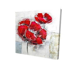 Canvas 24 x 24 - 3D - Abstract and texturized red flowers