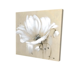Canvas 24 x 24 - 3D - White abstract wild flower