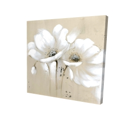 Canvas 24 x 24 - 3D - White abstract wild flowers