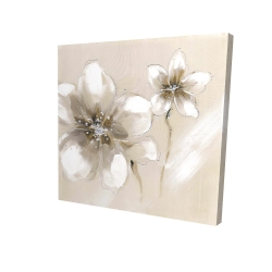 Canvas 24 x 24 - 3D - Two cream flowers