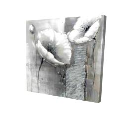 Canvas 24 x 24 - 3D - Industrial monochrome flowers