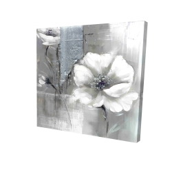 Canvas 24 x 24 - 3D - Monochrome and silver flowers
