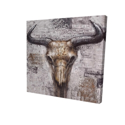 Canvas 24 x 24 - 3D - Bull skull with typography