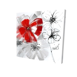 Canvas 24 x 24 - 3D - Red & gray flowers