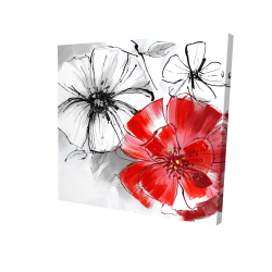 Canvas 24 x 24 - 3D - Red & white flowers sketch