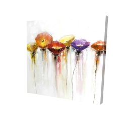 Canvas 24 x 24 - 3D - Multiple colorful abstract flowers