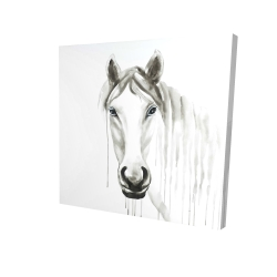 Canvas 24 x 24 - 3D - Solitary white horse